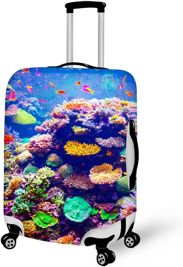 HUGS IDEA Colorful Abstract Art Luggage Cover Travel Suitcase Protector Spandex Elastic Baggage Covers Fits 18-22 Inch