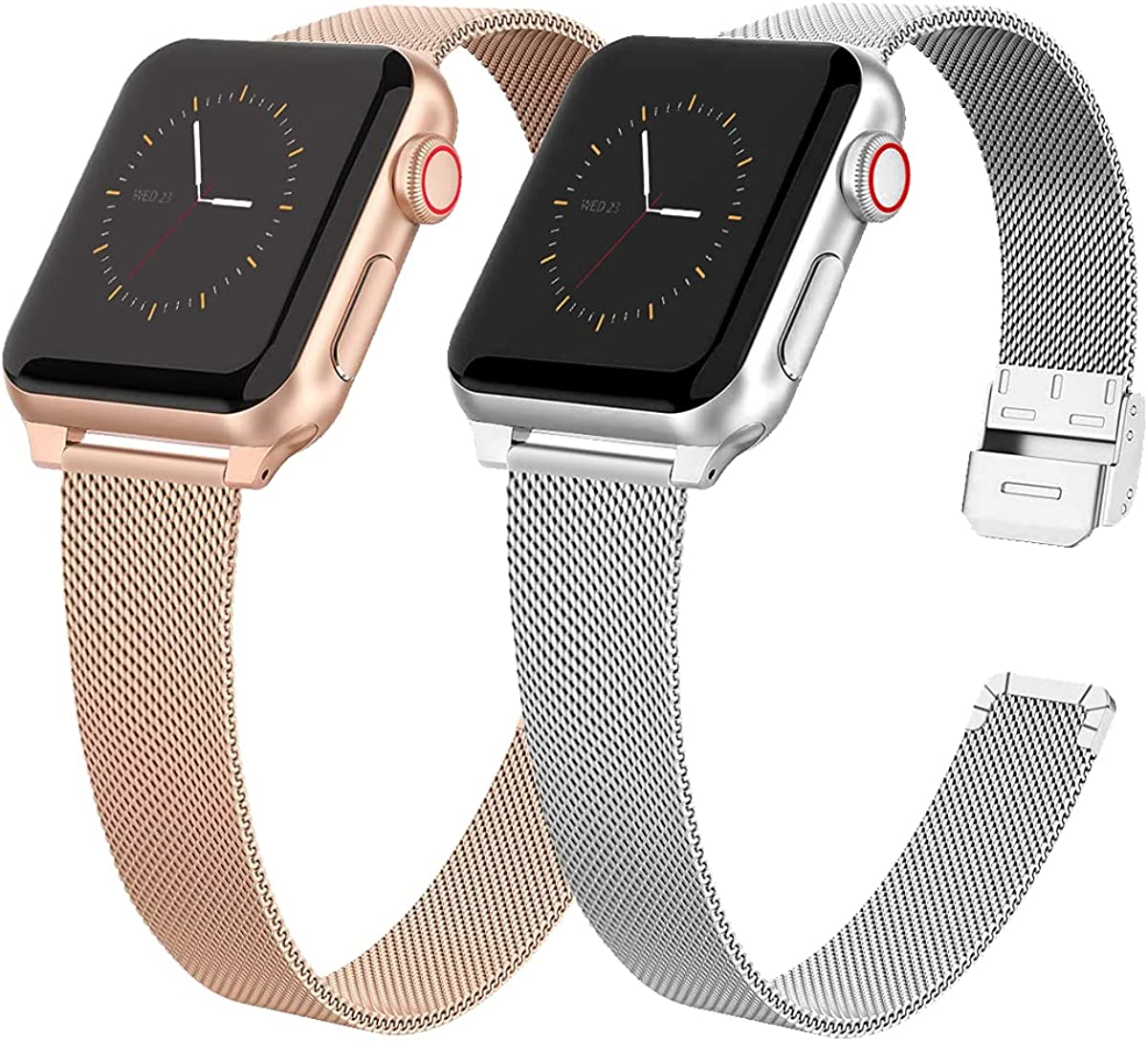 2 Pack Slim Metal Watch Band Compatible with Apple Watch Band 38mm 40mm 42mm 44mm for Women Girls, Stainless Steel Mesh Strap Replacement for iWatch SE iwatch Series 6/5/4/3/2/1