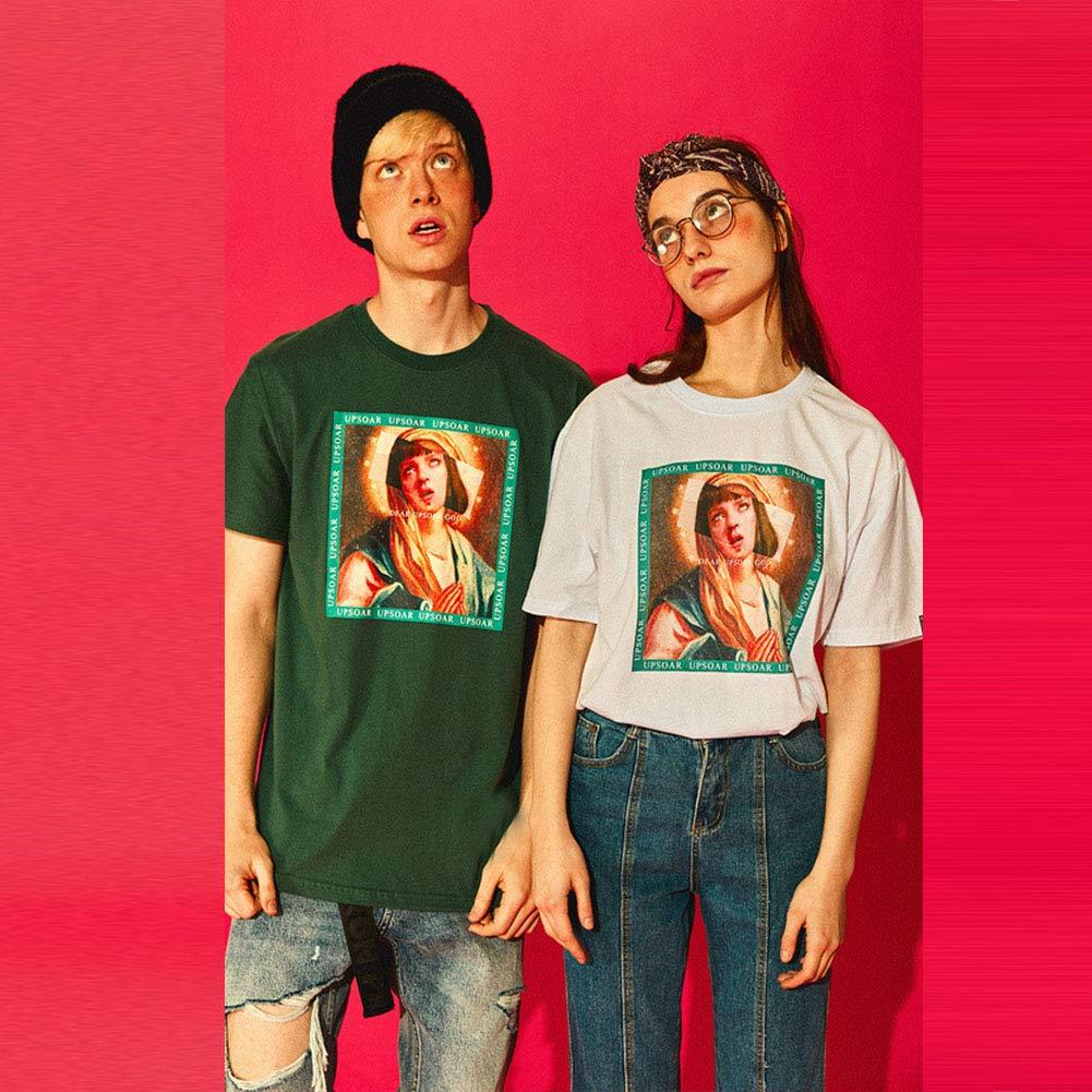 Hombres Mujeres Retro Virgen Mar/ía Divertido Impreso Manga corta Verano Hip Hop Camisetas ocasionales
