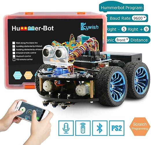 Keywish Kit de Auto Kit de Robot Inteligente para Arduino Hummer-BOT V1.0 Kit de Aprendizaje de Bricolaje, Carro de Control Remoto con UNO R3, Tutorial, módulos Bluetooth, Seguimiento de línea: Amazon.es: Electrónica