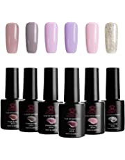 MAKARTT Gel Nail Polish Kit Soak Off UV LED Nail Gel Polishes for Nail Art 10 ML/PC Pack of 6 Sweet Colors Series (Gel Nail Polish Set)