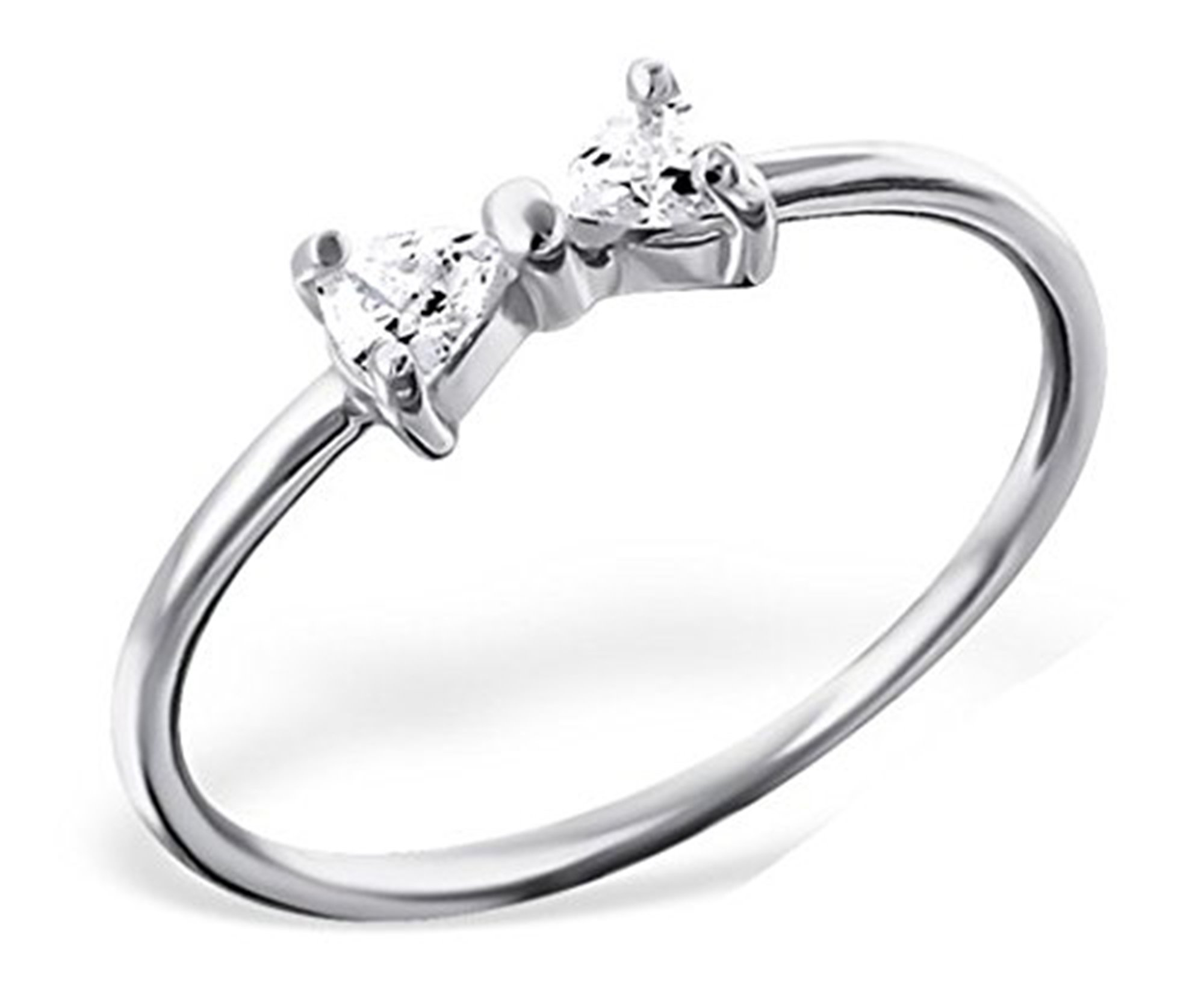 Best Wing Jewelry .925 Sterling Silver ''Bow /w Crystal'' Midi Ring, Above Knuckle Ring, Mid Finger Ring