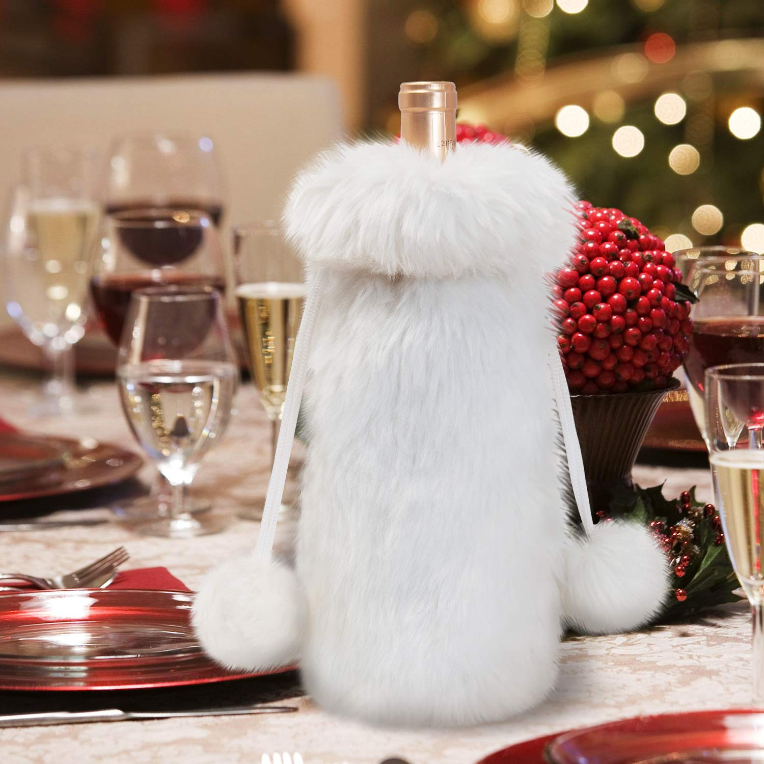 Amazon.com   GMOEGEFT White Luxury Faux Fur Wine Bag with Drawstring Bottle  Cover for Holiday Party Decorations  Bar Tools   Drinkware 24970ec83b