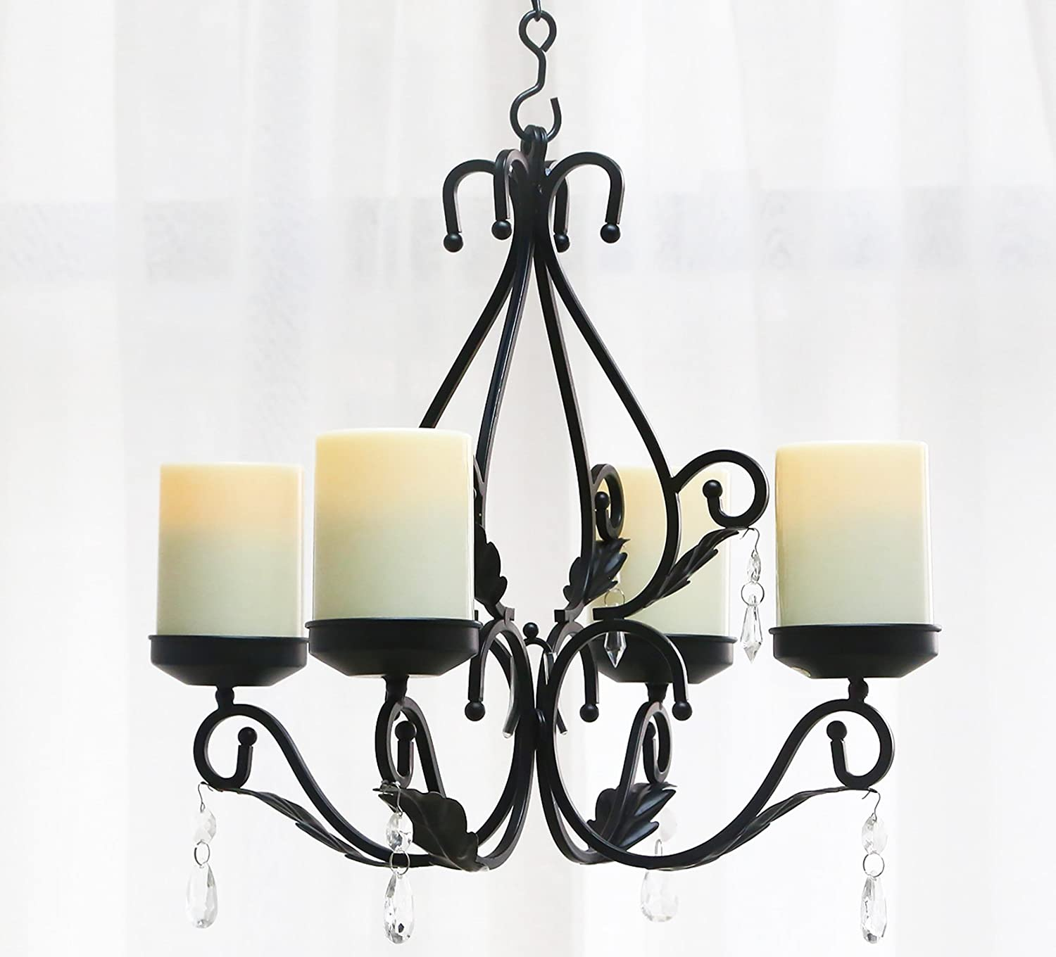 GiveU 3 IN 1 Lighting Chandelier, Metal Wall Sconce Set of 2, Table Centerpiece for Indoor or Outdoor, Chain and Candles Included, Black