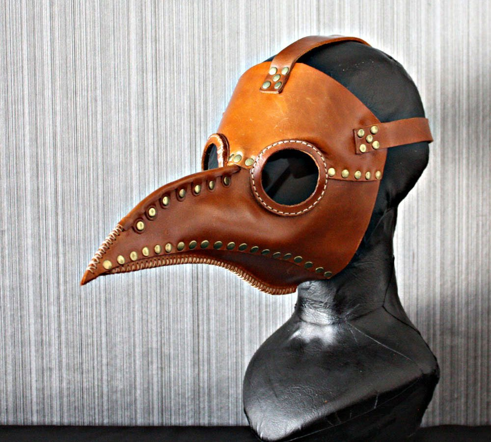1:1 Halloween Costume Cosplay Bird Prop Leather Dr Plague Doctor Mask Brown GL01