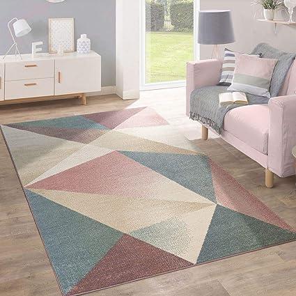Paco Home Teppich Wohnzimmer Kurzflor Modern Geometrisches Design In  Pastell Ausverkauf, Grösse:120x170 cm