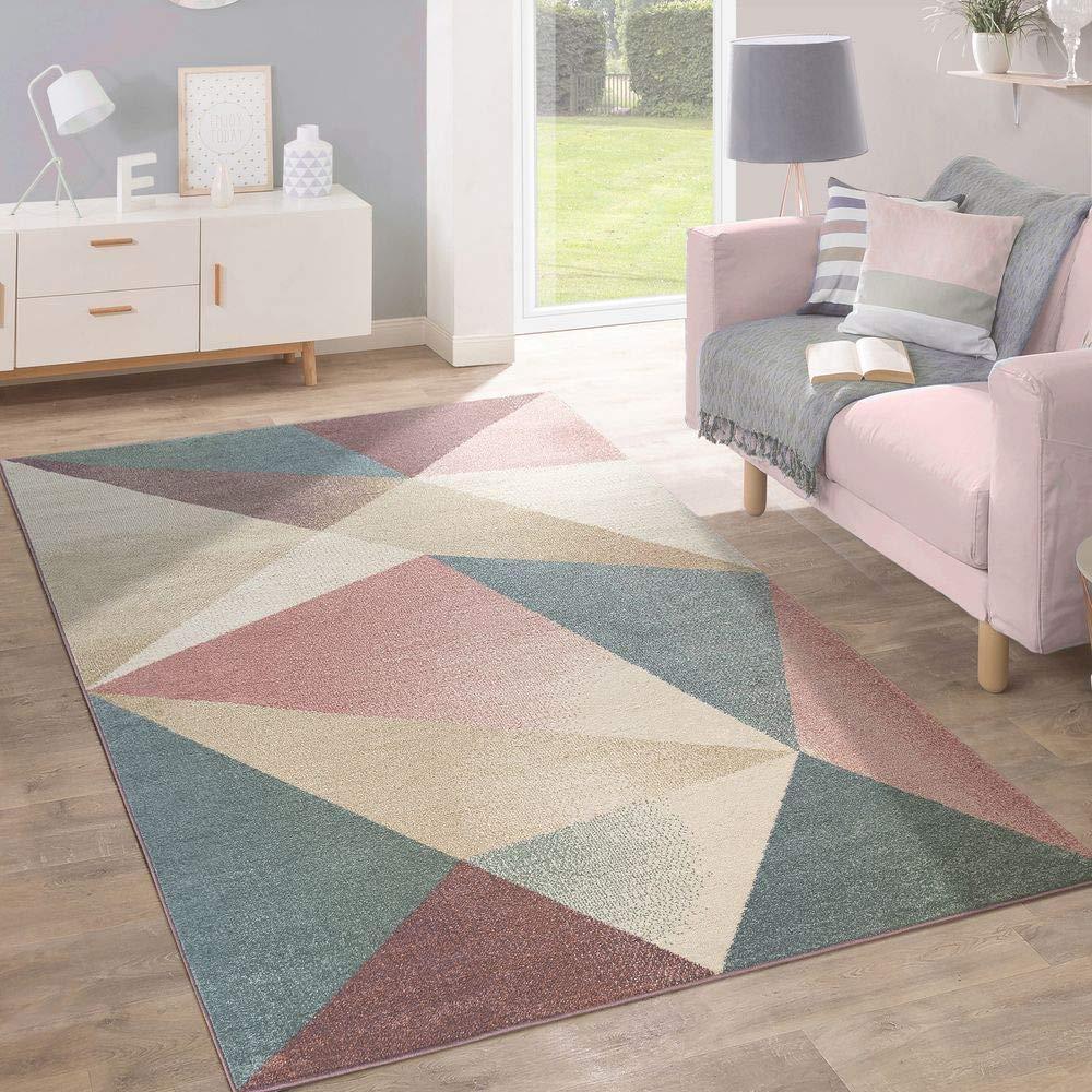 Paco Home Teppich Kurzflor Modern Trendig Pastell Geometrisches Design Inspiration Multi, Grösse 160x220 cm