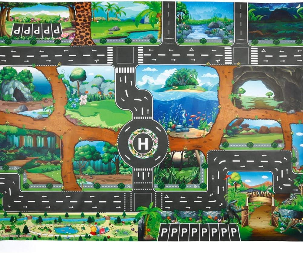 Tapis de Jeu Grande Ville Village et Route Tapis de Jeu Souples et pliants pour Enfants Enfants Gar/çons Filles 100cm x 130cm Mayyou Tapis de Jeu Dinosaur