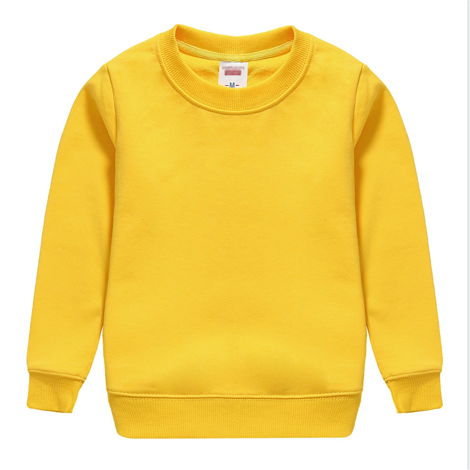 Beautymade Solid Full Sleeve Sweatshirt Child Warm Casual Clothing Yellow 5T