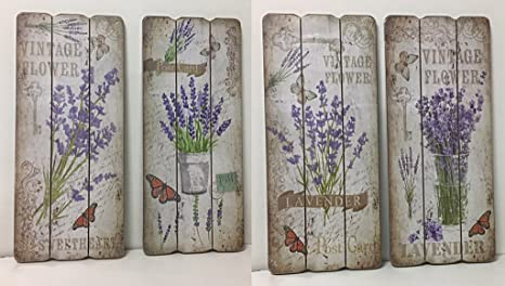 Set 4 stampe su legno quadretti a tema provenzale vaso di lavanda e ...