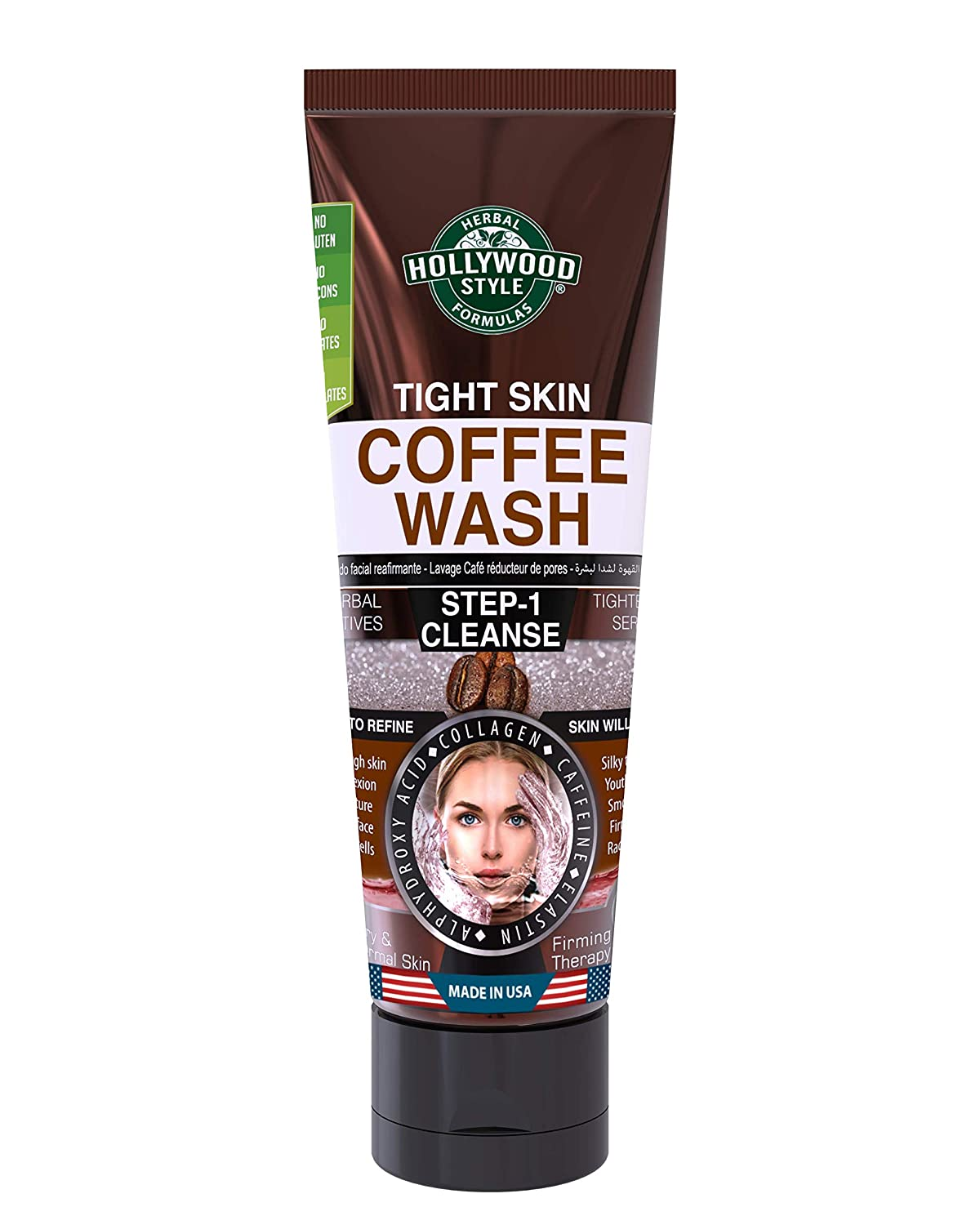 Hollywood Style Tight Skin Exfoliating Coffee Wash Firmer, Softer, and Silkier Skin Removes Dead Skin Cells, 3.2 fl. Oz.