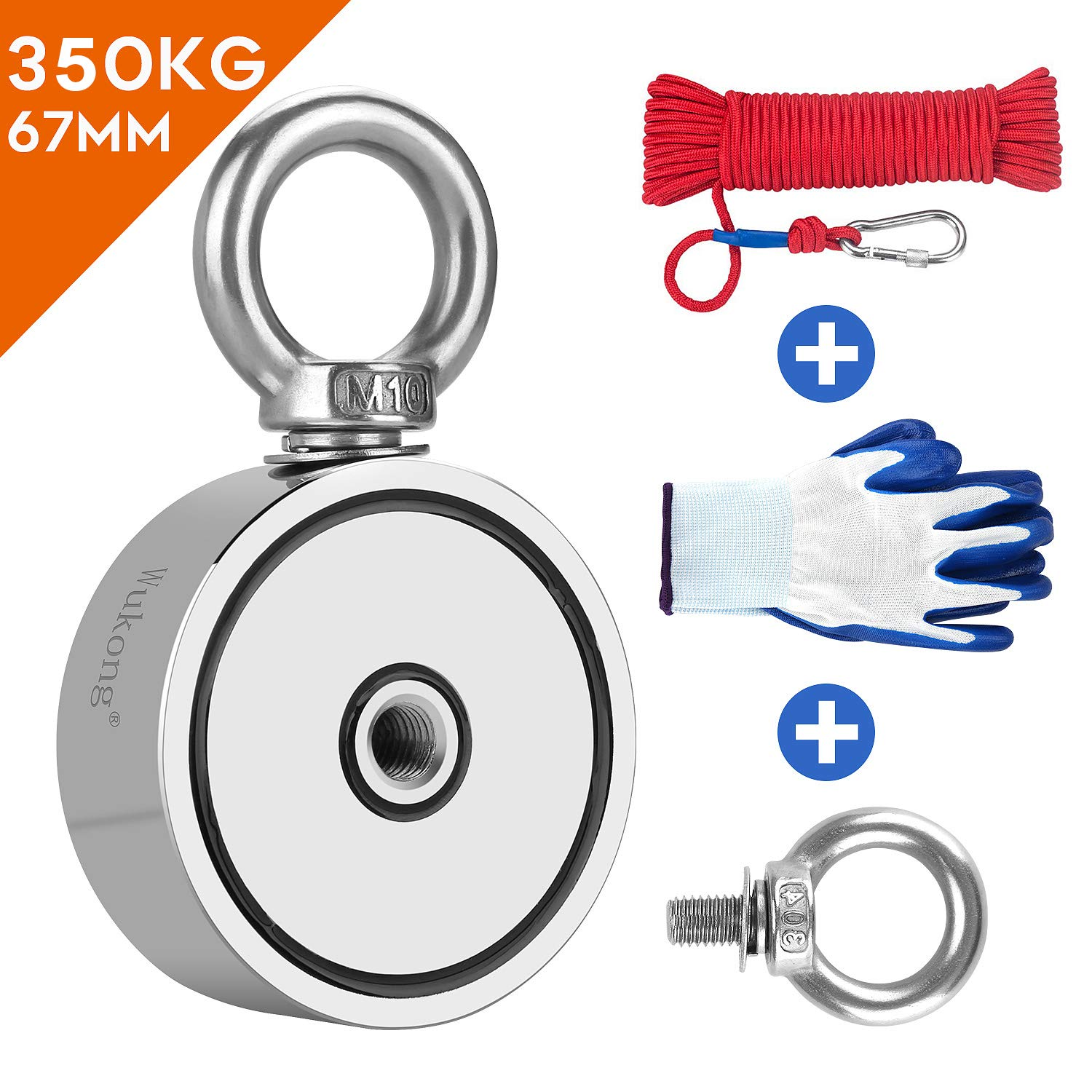 Wukong Double Sided Magnet Fishing,Diameter 67mm,Vertical Tension 350KG N52 Neodymium Eyebolt Magnet with 20m Rope and a Pair of Gloves