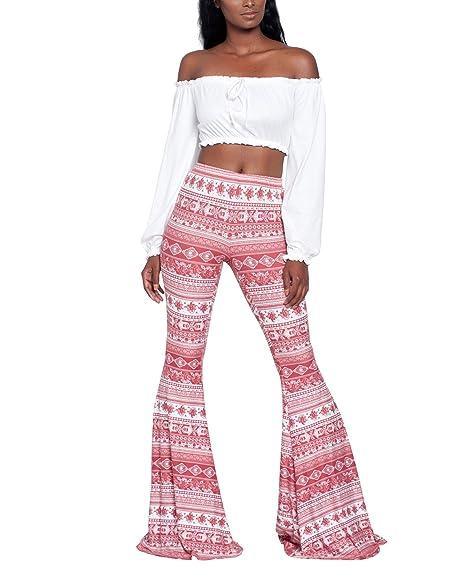 Amazon.com: annystore Womens Boho elástico Flare pierna ...