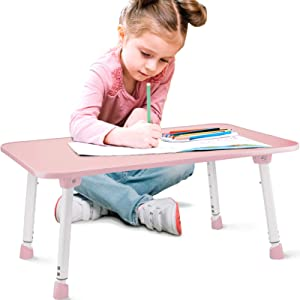 CHEFAN Kids Lap Desk-Portable School Desk- Flexible Pink Lap Desk for Classrooms and Homeschool-Height Adjustable and Foldable Table for Kids and Teens