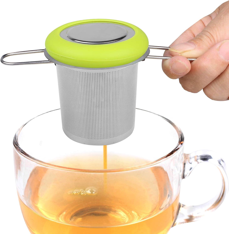 Fenshine Tea Infuser Stainless Steel Tea Strainer Folding Handle Tea Filter Extra Fine Mesh Strainer Brewing Basket with Lid for Loose Leaf Tea (Green)