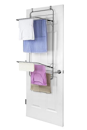 Amazoncom Sunbeam Steel Over The Door Towel Dryer Rack Grey Home