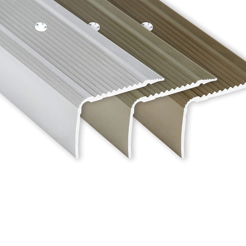 Corni/ère pour escaliers Montage par vis 100 cm Forme L Toolerando Nez de marche Argent 30 x 20 mm