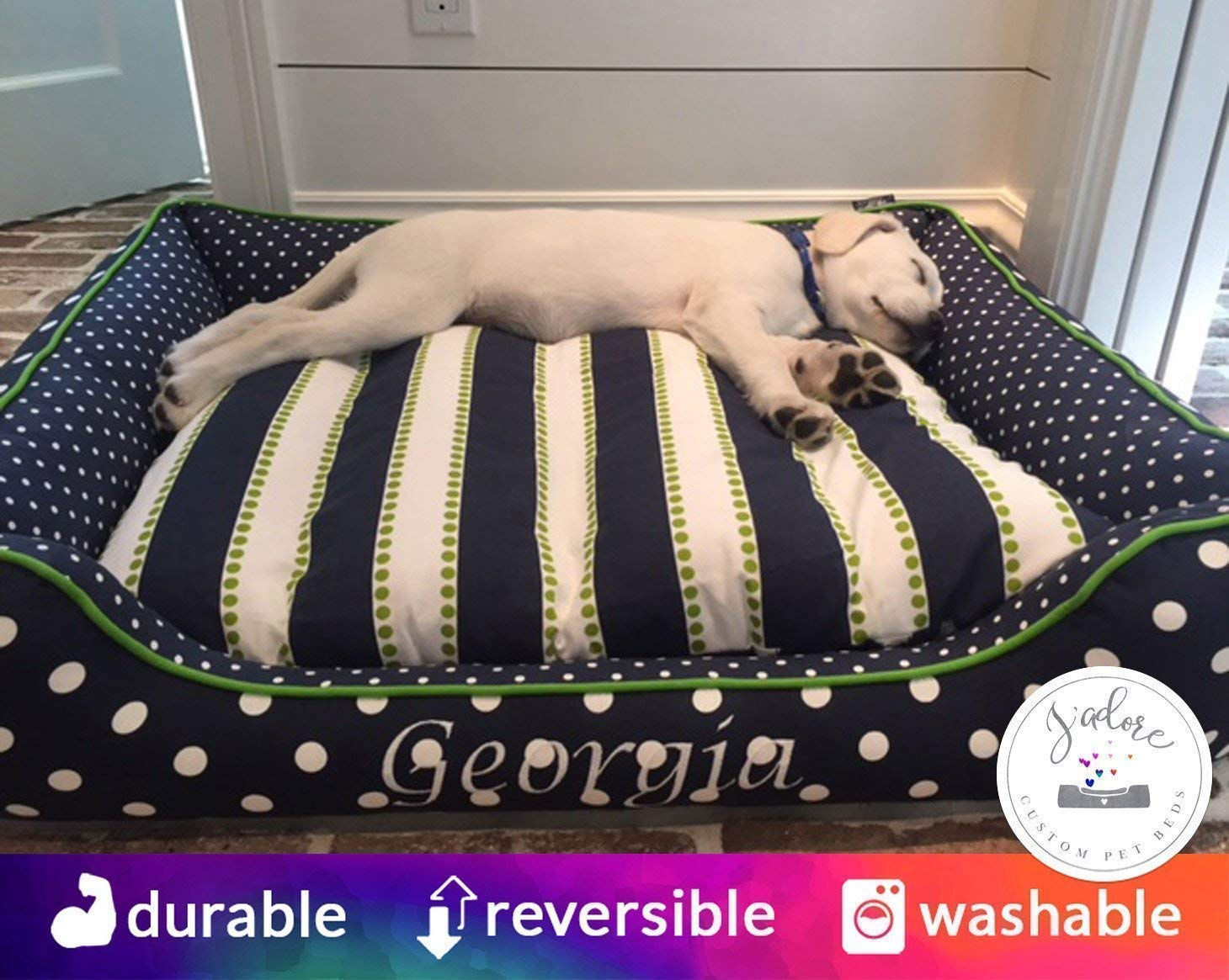 Personalized Dog Bed Navy Blue & Green - Washable Removable Cover - Select Your Size