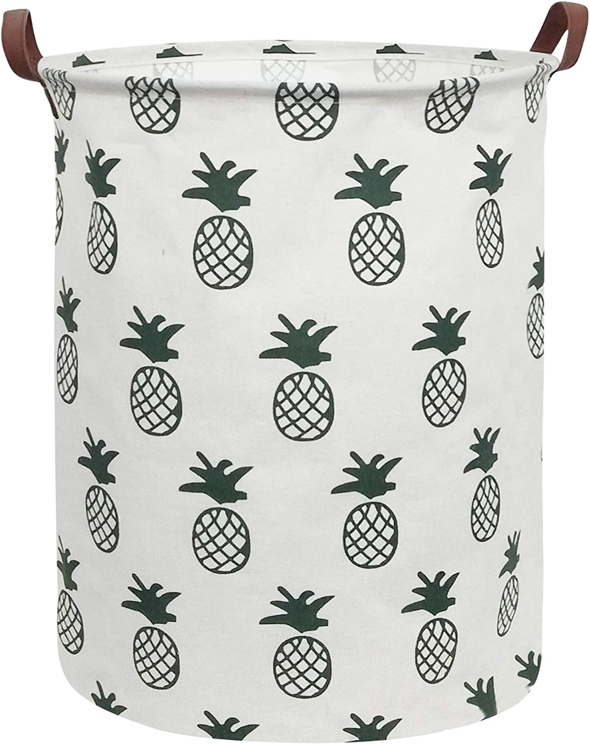 CLOCOR Collapsible Round Storage Bin/Large Storage Basket/Clothes Laundry Hamper/Toy Books Holder (Pineapple)