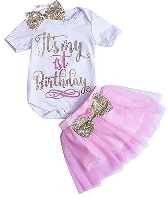 07ffdb979 Baby Girls It's My 1st Birthday Romper Bodysuit Tutu Skirt Sequins Bow  Headband 3PCS Set Size