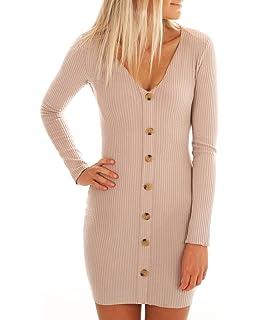 68d7e27f673 ZILIN Women s Ribbed Knit Button Down Tight Sweater Dress V-Neck Bodycon  Pencil Dress