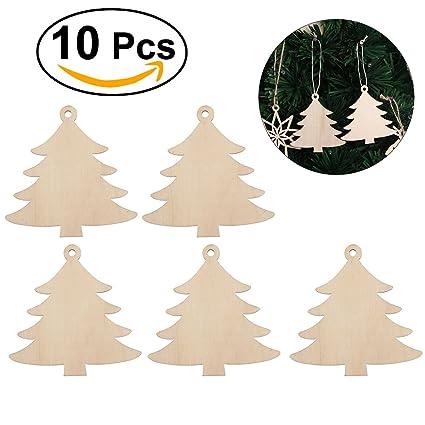 Tinksky Christmas Wooden Hanging Decor Embellishments For Christmas Tree Home Wall Decor Christmas Ornaments Christmas Gift Diy 10pcs Christmas Tree