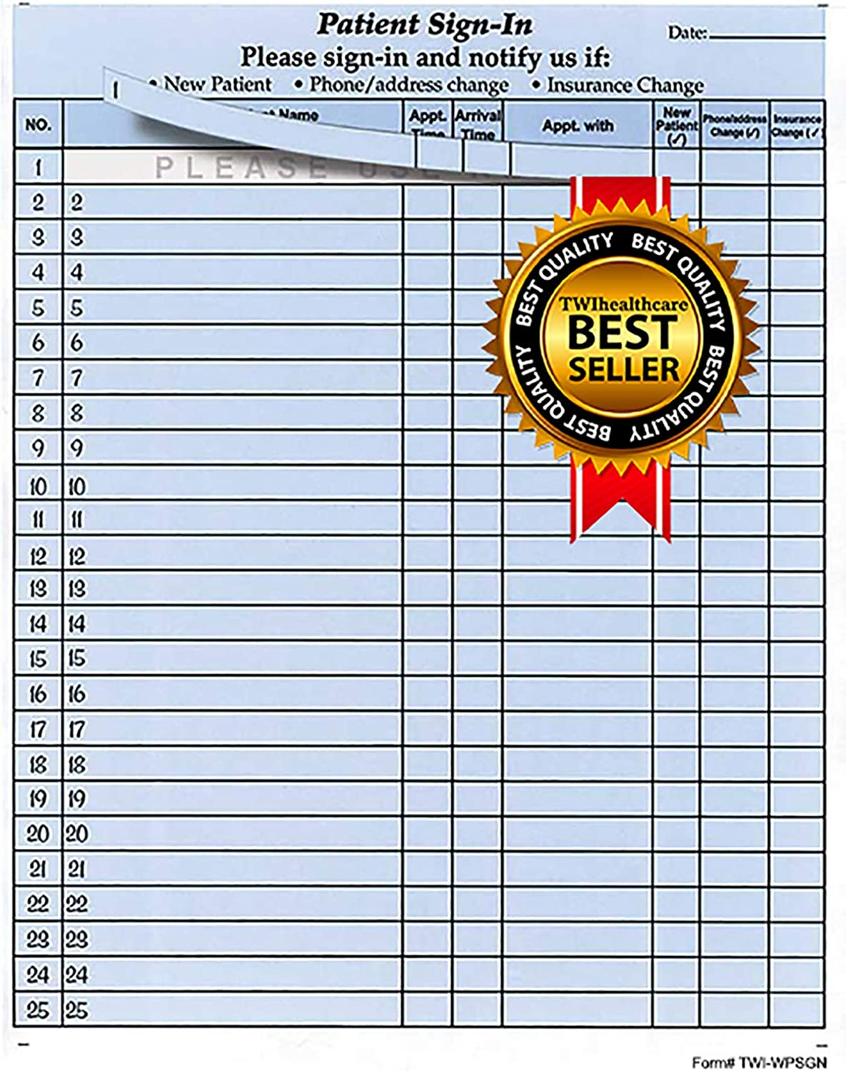 Patient Sign-in Sheets, 8-1/2
