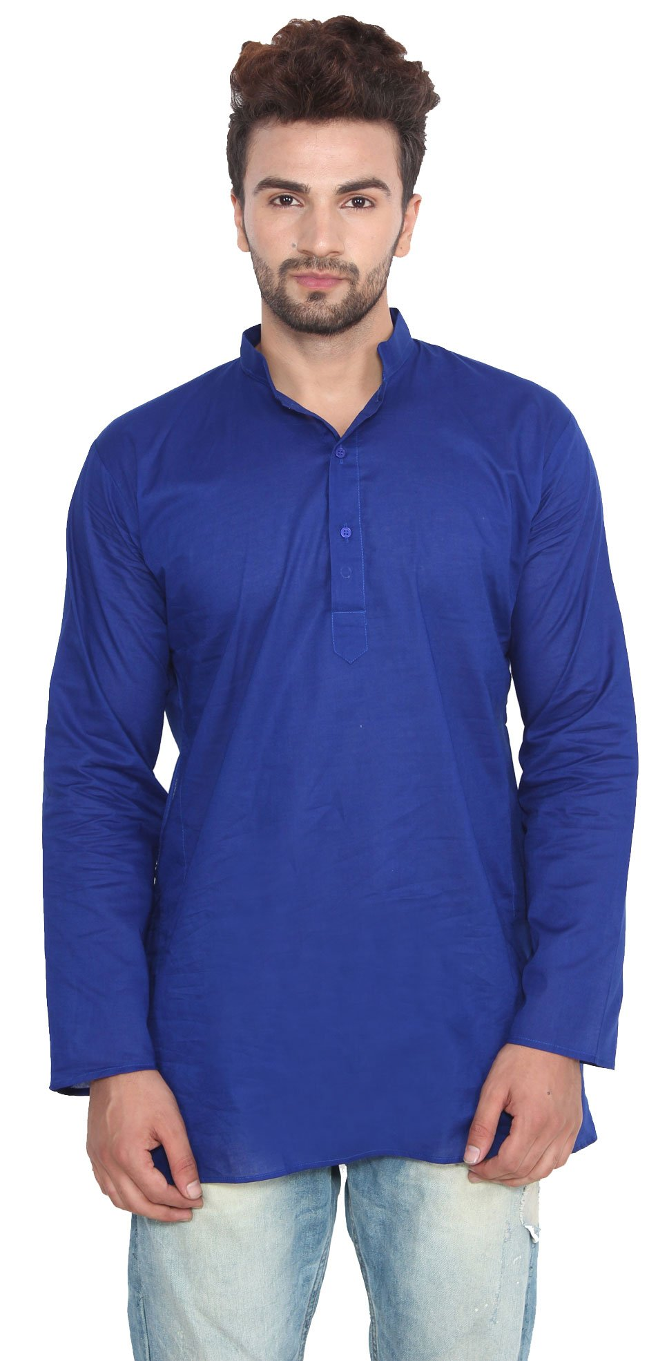 Cotton Dress Mens Short Kurta Shirt India Fashion Clothes (Blue, S)