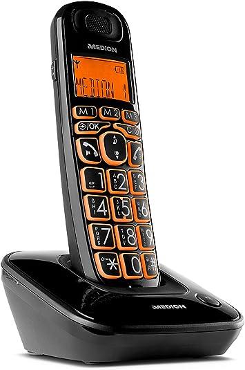 MEDION E63197B - Teléfono (Teléfono DECT, Terminal inalámbrico, Altavoz, 20 entradas, Identificador de Llamadas, Negro): Amazon.es: Electrónica