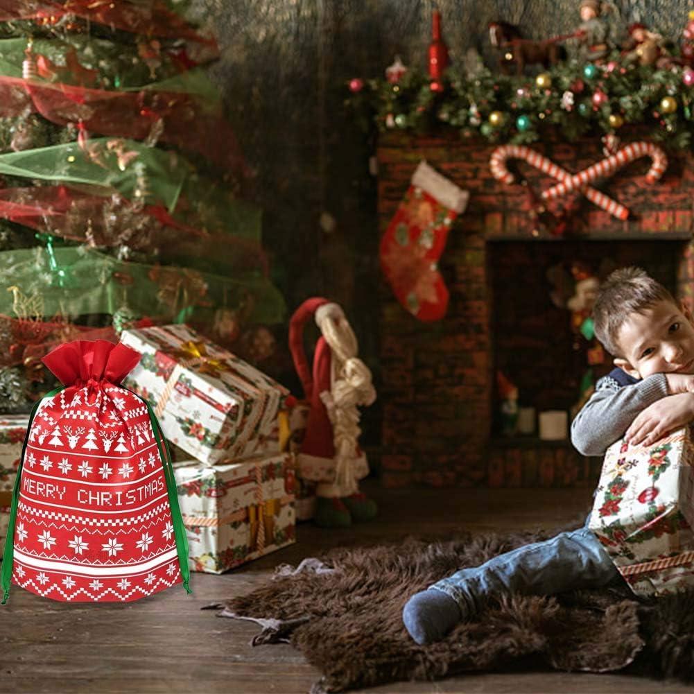 Sacs de Cordon de No/ël Sacs Cadeaux pour Cadeaux de f/ête de No/ël de 12 pi/èces avec Sac demballage pour Ficelle avec Joyeux No/ël Lettrage Sac Cadeau en Tissu Non-tiss/é de P/ère No/ël pour No/ël