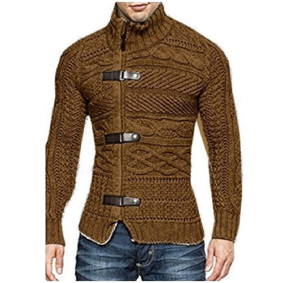 Sayah Mens Zipper Fall /& Winter Long-Sleeve Casual Turtleneck Sweaters