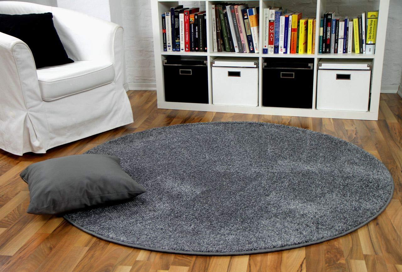 Hochflor Velours Teppich Mona Grau Rund in 7 Größen
