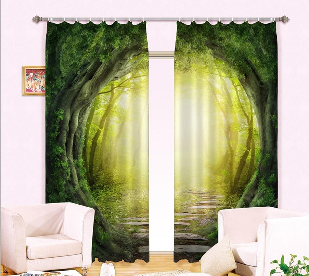 GFYWZ 3D Druck Wald Fenster Gardinen Home Decor dick isoliert schwarzout Fenster Vorhänge Vorhang , 1 , wide 2.64x high 2.13