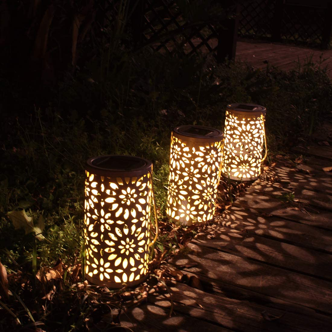 RenFox LED Solar Lantern Farol Solar para Exteriores IP44 Impermeable decoraci/ón de Jard/ín Patio