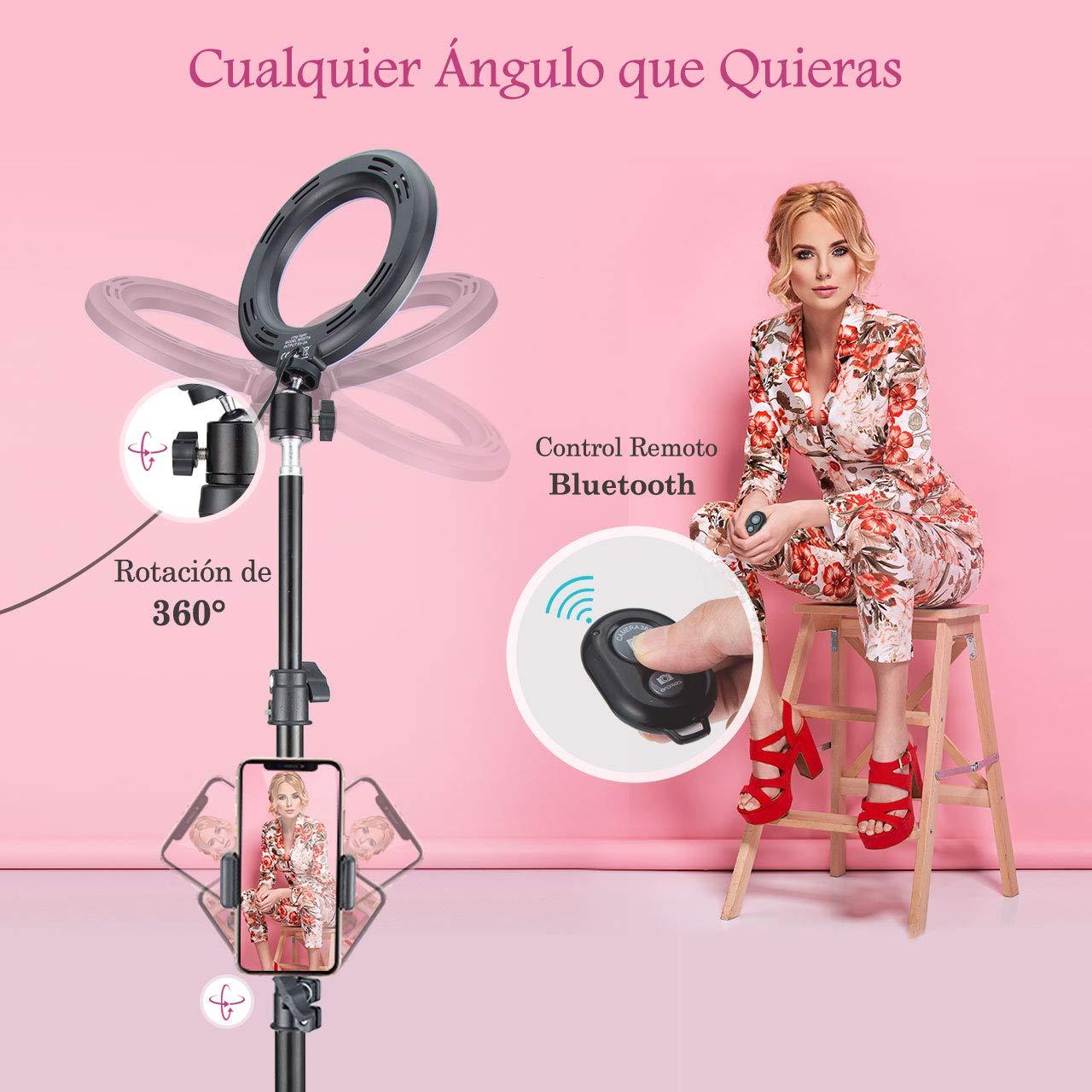 Youtube y Selfie Video de Maquillaje Selfie Stick y Soporte para Tel/éfono 3200-5600K Temperatura de Color con Tr/ípode Ajustable Anillo de Luz Led VicTsing Ring Light Kit 6.3
