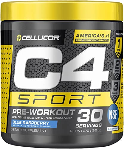 C4 Sport Pre Workout Powder Blue Raspberry NSF Certified for Sport Sugar Free Pre-Workout Energy Supplement for Men Women 135mg Caffeine Creatine Monohydrate 30 Servings