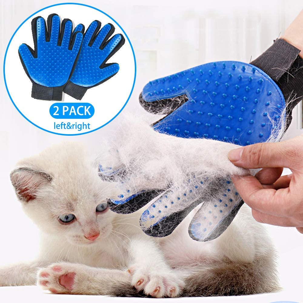SSRIVER Pet Grooming Glove Hair Remover Brush Gentle Deshedding Efficient Pet Mitt Pet Massage Gloves Left & Right Hand Draw Dog Cat Horse Long Short Fur (1Pair Left & Right Hand (Blue))