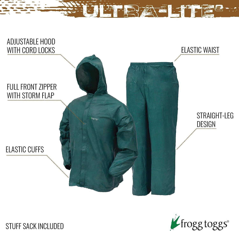 FROGG TOGGS Combinaison de Pluie pour Homme Ultra-Lite II Kaki Taille LG