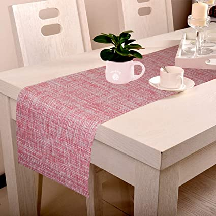 Lushomes Red Jacquard Waterproof and Heat Resistant PVC Runner (30 x 180 cms)
