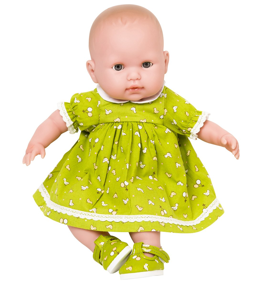 New for Spring !12-14 inch Dolls Green Dress with Tiny Chick and Balloon design, from Frilly Lily .Suitable for dolls 12-14 INCHES [30-35 CM]such as GOTZ,COROLLE,ZAPF,MY LITTLE BABY BORN,MY FIRST BABY ANNABELL. DRESS ONLY , DOLL OR SHOES NOT INCLUDED