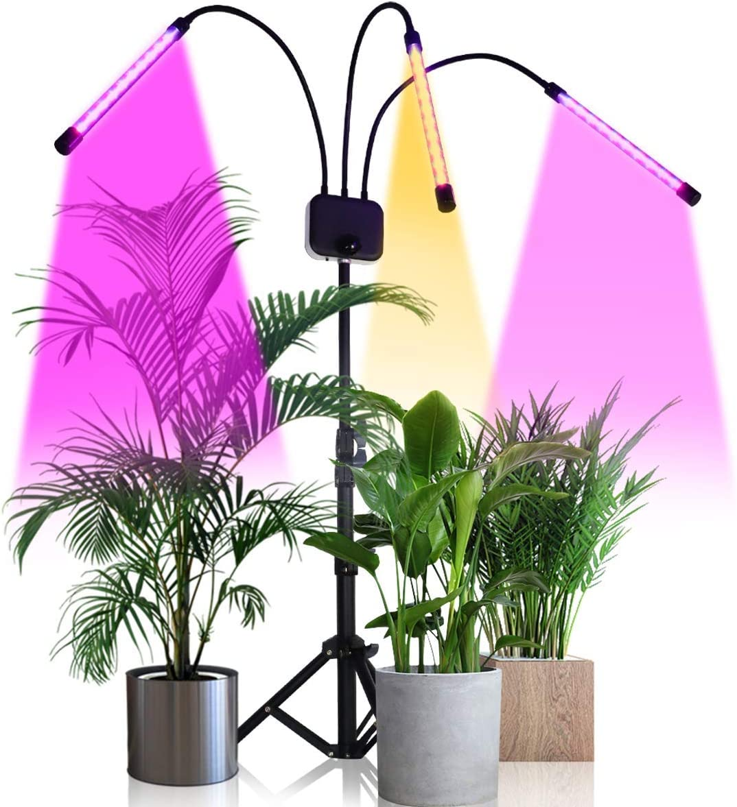 Grow Light with Stand,GHodec Tri-Head 60W Floor Plant Lights for Indoor Plants, Tripod Stand Adjustable 15-48 in,3 9 12H Timer 3 Modes