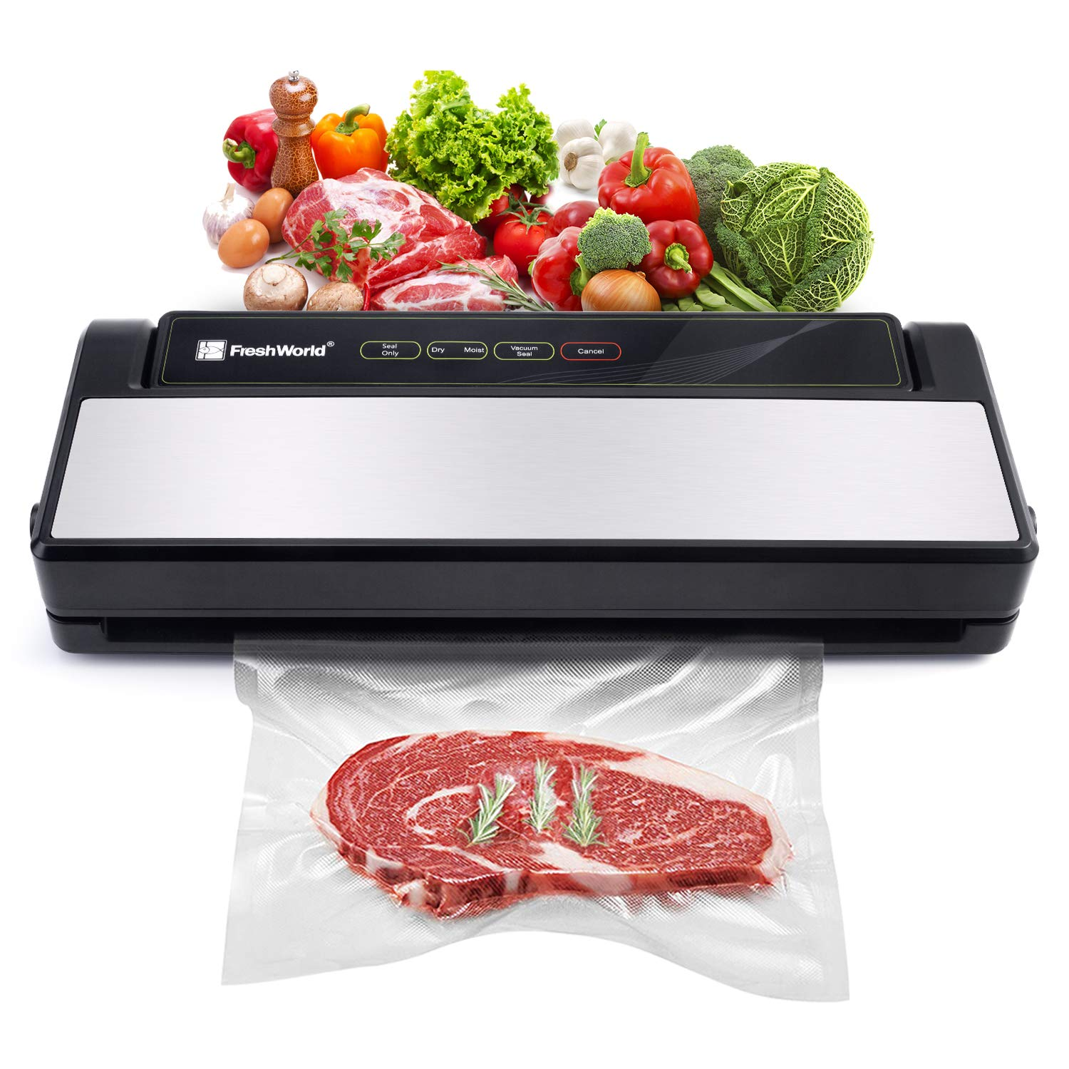 Food Vacuum Sealer Machine w/Starter Kit|32 cm Sealing Length|Stainless Steel Cover|Led Indicator Lights|Dry & Moist Food Modes|Compact Design|TVS-2018 by Fresh World