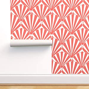 Spoonflower Peel and Stick Removable Wallpaper, Coral Art Deco Small Scale Shell Seashells Living Coral Art Deco Fan Beach Decor Nautical Print, Self-Adhesive Wallpaper 24in x 108in Roll
