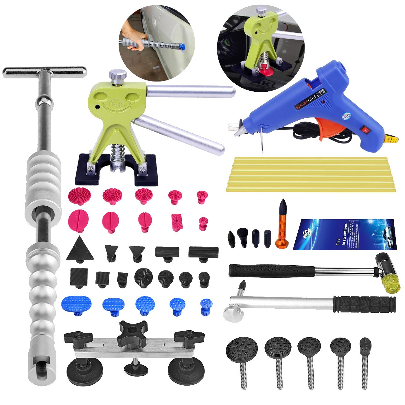 Super PDR 40pcs Car Body Hail Ding Damdge Dent Repair Removal Tool Kits Silde Hammer Glue Puller Tool Kits by Super PDR (Image #8)