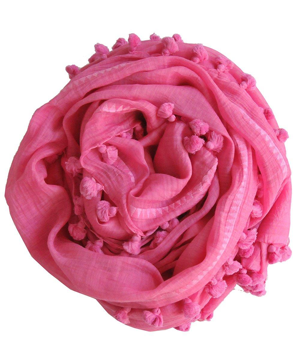 (シトラス) CITRUS 正規直輸入品 無地ポンポン付 コットン シルク ストール B00YIXCD78 Chateau Rose Chateau Rose