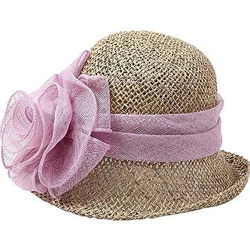 XIAOYAN Gorras Hilo flores sombrero de paja Sombrero de playa para mujeres al aire libre Gorra