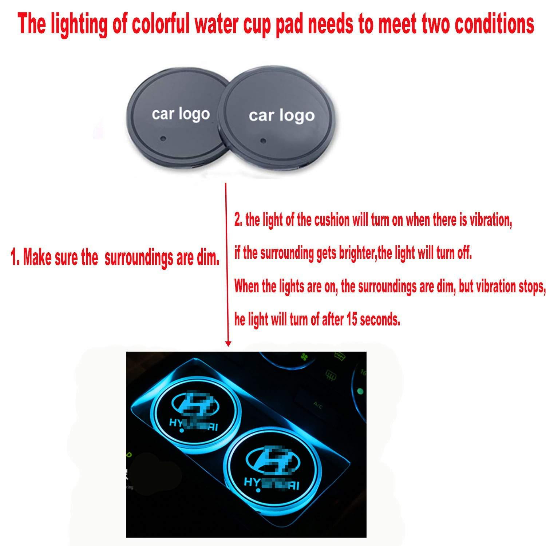 LED Auto Logo Getr/änkehalter Pad wasserdichte Flasche Getr/änke Coaster LED Tasse Matte Auto Atmosph/äre Lampe 2 ST/ÜCKE fit ho-nda Interestingcar LED Auto Getr/änkehalter Lichter