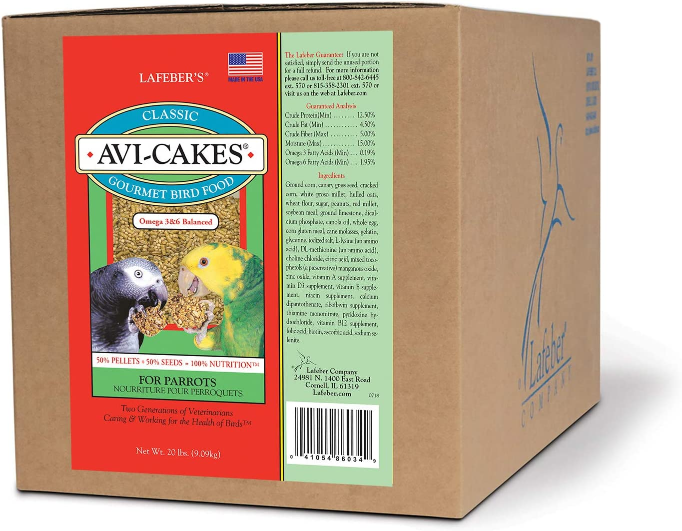 LAFEBER'S Classic Avi-Cakes Pet Bird Food, Made with Non-GMO and Human-Grade Ingredients, for Parrots