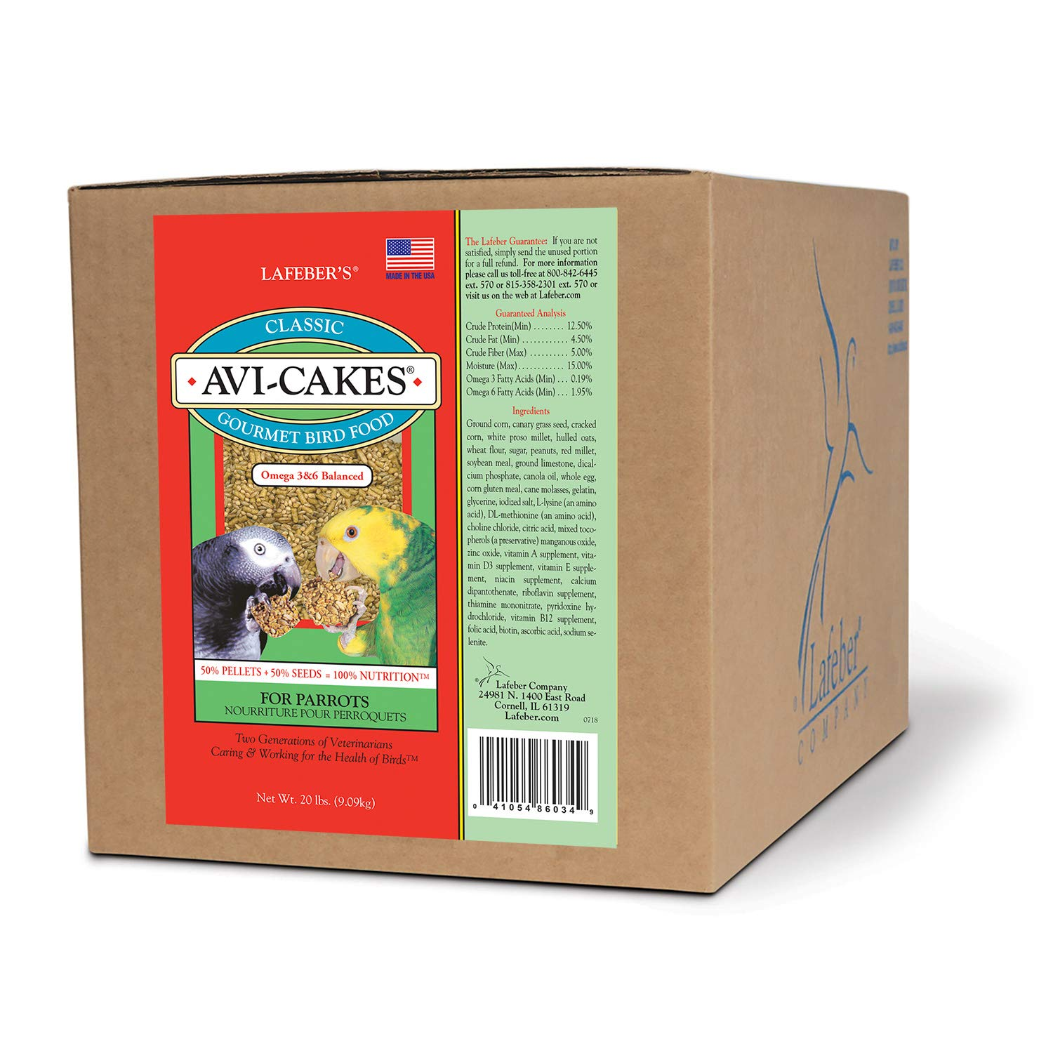 LAFEBER'S Classic Avi-Cakes Pet Bird Food, Made with Non-GMO and Human-Grade Ingredients, for Parrots, 20 lbs by LAFEBER'S