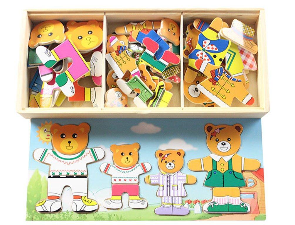Juguetes educativos de la familia del oso rompecabezas de madera  rompecabezas magnético de la primera infancia 0a584d8de1d
